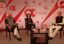 Minister of State for Civil Aviation Jayant Sinha (R) in conversation with Shekhar Gupta and Ruhi Tewari