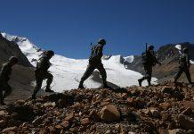 Chinese Soldiers Patrol In Tibet