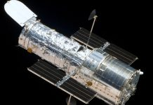 The Hubble Space Telescope as seen from the departing Space Shuttle Atlantis