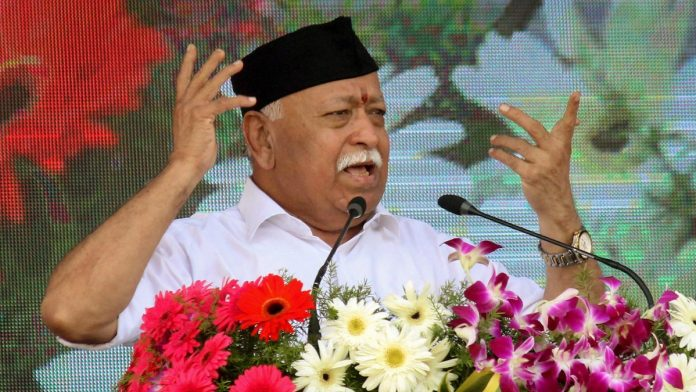 RSS chief Mohan Bhagwat addresses the Vijay Dashmi function at RSS headquaters in Nagpur | PTI