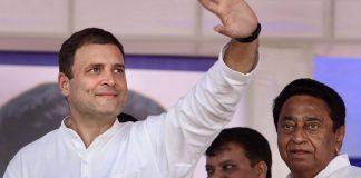 Congress president Rahul Gandhi waves at the crowd at a public meeting in Dhar district, Madhya Pradesh | PTI File Photo