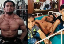 Jitender Yadav before (left) and after being shot and paralysed
