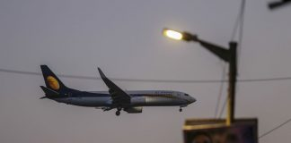 A Jet Airways India Ltd. plane prepares to land