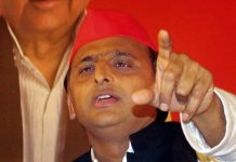 Samajwadi Party National President Akhilesh Yadav speaks during the release of party's manifesto for State Assembly elections