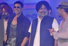 Sukhbir Badal with Akshay Kumar and Yo Yo Honey Singh during the unveiling of league Franchisees names and logos of World Kabaddi league in 2014