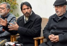 J&K Congress president Ghulam Ahmad Mir (C) with senior party leaders address a press conference regarding the dissolution of Assembly, in Srinagar | PTI