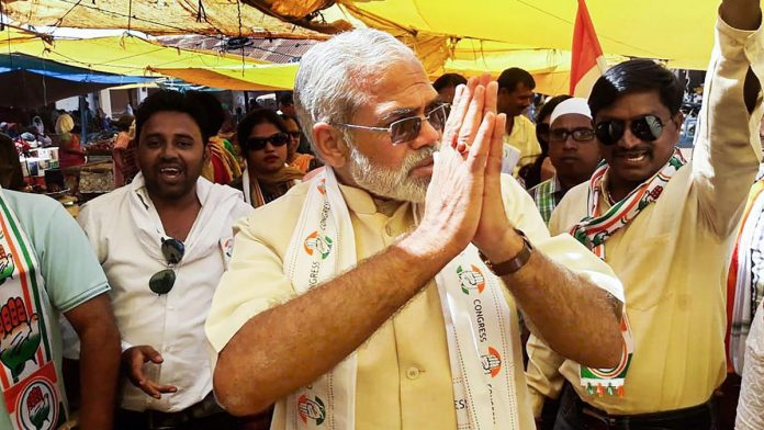 In this undated photo, a Prime Minister Narendra Modi look alike campaigns for Congress Party in Dantewada district of Chhattisgarh.