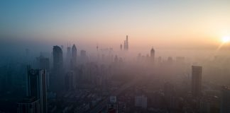 The skyline of Shanghai on a polluted day on February 23, 2018