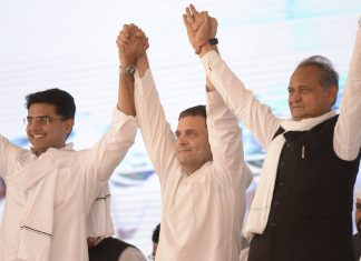Ashok Gehlot with Sachin Pilot and Congress President Rahul Gandhi