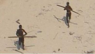 Sentinelese aim arrows as an Indian Coast Guard helicopter: After the Tsunami in 2004, an Indian Coast Guard helicopter went to check on the Sentinelese