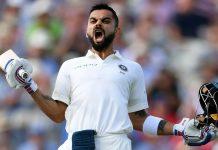 India batsman Virat Kohli celebrates his century during the Test Match between England and India at Edgbaston | Stu Forster/Getty Images