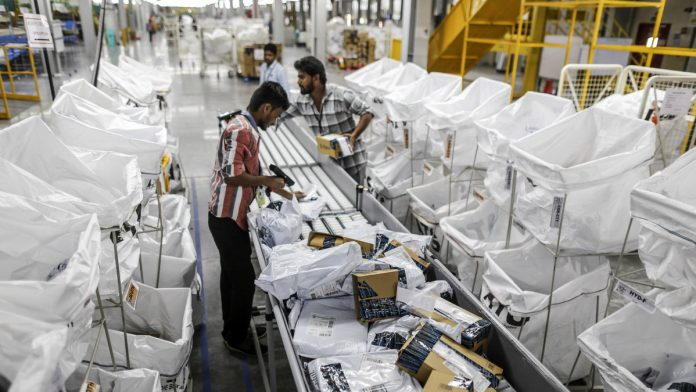An Amazon.com packaging facility in Hyderabad | Dhiraj Singh/Bloomberg