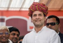 Congress President Rahul Gandhi during an election campaign in Rajasthan