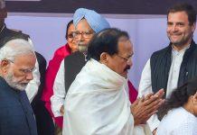 Vice-President Venkaiah Naidu, PM Narendra Modi, Congress president Rahul Gandhi | PTI