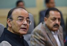 Union Finance Minister Arun Jaitley addresses the media at his office, in New Delhi, Monday