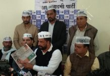 AAP's Haryana in-charge Navin Jaihind addressing a press conference