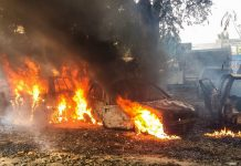 Vehicles set on fire by a mob during a protest over the alleged illegal slaughter of cattle in Bulandshahr | PTI