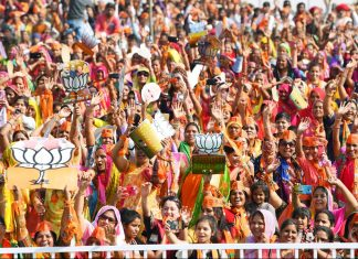 BJP supporters at a rally in Sumerpur