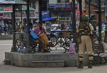 Security personnel stand guard at Lal Chowk in Srinagar | PTI