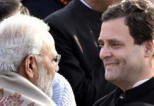 Prime Minister Narendra Modi with Congress president Rahul Gandhi