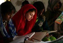 Girls studying in a school in Pakistan