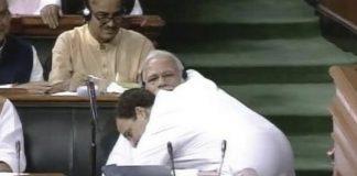 Rahul Gandhi hugs Narendra Modi in Parliament | YouTube screengrab