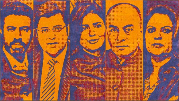 News anchors Rahul Shivshankar, Arnab Goswami, Sweta Singh, Bhupendra Chaubey and Navika Kumar | Arindam Mukherjee/ThePrint