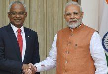 PM Narendra Modi and Maldivian President Ibrahim Mohamed Solih before a meeting at Hyderabad House, in New Delhi, Monday | Kamal Kishore/PTI