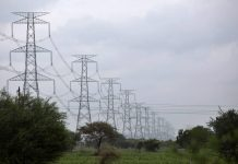 Electricity transmission towers in the Marathwada region of Maharashtra