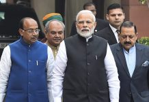 Prime Minister Narendra Modi with his ministers ahead of the Winter Session of Parliament