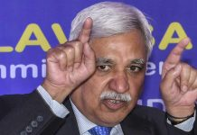 Chief Election Commissioner Sunil Arora addresses a press conference after a review meeting with Bihar District Magistrates