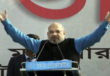 BJP National President Amit Shah addresses a rally in Malda