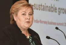 Norwegian Prime Minister Erna Solberg at the Indo-Norwegian Business Conference in New Delhi | Kamal Kishore/PTI