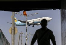 A Jet Airways India Ltd. aircraft prepares to land at Chhatrapati Shivaji International Airport in Mumbai