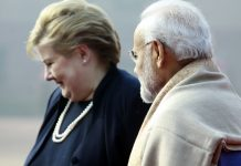Prime Minister Narendra Modi in conversation Norwegian PM Erna Solberg during the ceremonial reception at Rashtrapati Bhavan in New Delhi | Praveen Jain/The Print
