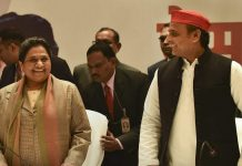 BSP supremo Mayawati and Samajwadi Party chief Akhilesh Yadav during a joint press conference in Lucknow | PTI