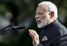 Narendra Modi speaks during a joint statement with U.S. President Donald Trump in the White House in Washington, D.C., U.S. | ThePrint.in