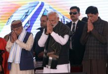 Murli Manohar Joshi (second left), PM Modi (centre) and Piyush Goyal (right) pay tribute to the CRPF jawans who were killed in Pulwama attack
