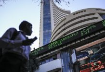 An electronic ticker board indicates British pound to Indian rupee currency exchange rate outside the Bombay Stock Exchange building in Mumbai| Dhiraj Singh/Bloomberg