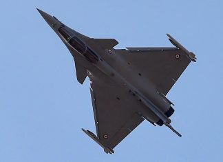 A Rafale fighter aircraft seen during rehearsals for fly-past ahead of the 12th edition of AERO India 2019 at Yelahanka Air Base in Bengaluru