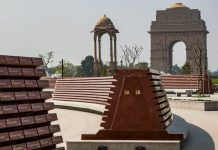 A wall with the names of the martyred soldiers displayed at the National War Memorial in New Delhi