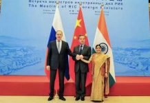 India's External Affairs Minister Sushma Swaraj, Russian Foreign Minister Sergei Lavrov and Chinese Foreign Minister Wang Yi at the16th meeting of the foreign ministers of Russia, India and China (RIC) | Twitter/@airnewsalerts