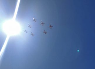 The incomplete diamond formation of Surya Kirans seen at Aero India | Snehesh Alex Philip/ThePrint