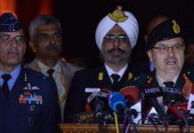 Air Vice Marshal RGK Kapoor, Rear Admiral Dalbir Singh Gujral, Major Genral Surinder Singh Mahal at the joint press conference
