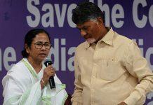 Chandrababu Naidu shares the stage with Banerjee at the dharna   Ashok Nath Dey/ThePrint