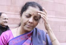 Defence minister Nirmala Sitharaman outside Parliament