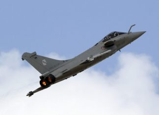 A Rafale fighter jet, manufactured by Dassault Aviation SA
