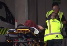 A victim arriving at a hospital following the mosque shooting in Christchurch | Tv New Zealand/AFP/Getty Images