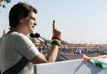 Congress General Secretary Priyanka Gandhi Vadra addresses a public meeting ahead of Lok Sabha elections, in Gandhinagar