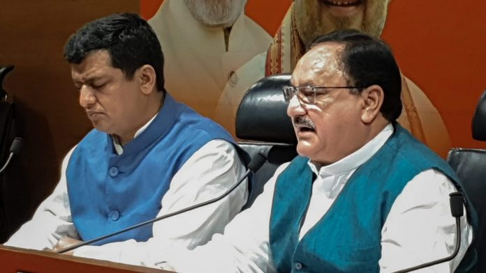 Union Minister and BJP leader JP Nadda declares the first list of candidates for the upcoming Lok Sabha elections
